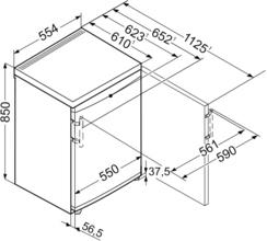 Maattekening LIEBHERR koelkast tafelmodel TP1444-20