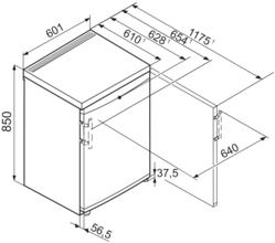 Maattekening LIEBHERR koelkast tafelmodel TP1744-20