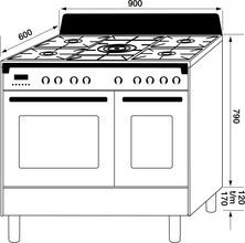 Maattekening M-SYSTEM fornuis oud-wit MFCD95OW