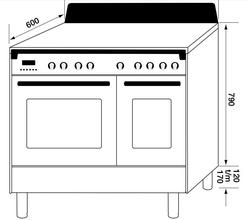 Maattekening M-SYSTEM fornuis inductie antraciet MFCDI94AN
