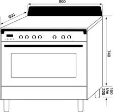 Maattekening M-SYSTEM fornuis inductie antraciet MFCI94AN