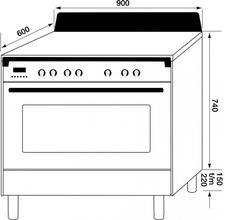 Maattekening M-SYSTEM fornuis inductie oud-wit MFCI94OW