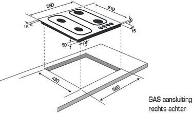 Maattekening M-SYSTEM kookplaat MGGK64