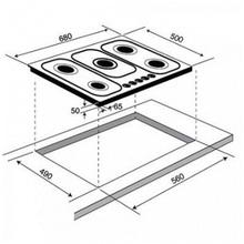 Maattekening M-SYSTEM kookplaat MGGK75
