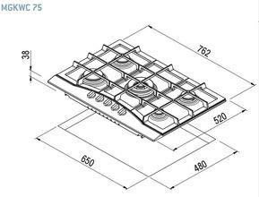 Maattekening M-SYSTEM kookplaat antraciet MGKWC75AN