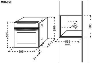 Maattekening M-SYSTEM oven inbouw MIO650IX