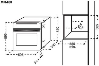 Maattekening M-SYSTEM oven inbouw MIO660IX