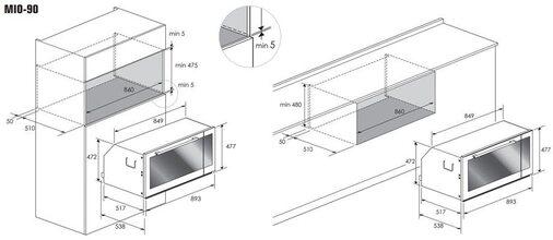 Maattekening M-SYSTEM oven inbouw MIO90IX