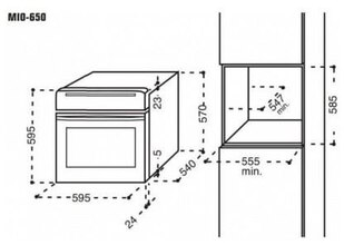 Maattekening M-SYSTEM oven inbouw MIOC650AN