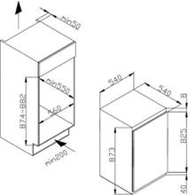 Maattekening M-SYSTEM koelkast inbouw MKR88
