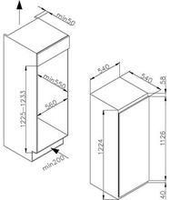 Maattekening M-SYSTEM koelkast inbouw MKRV122