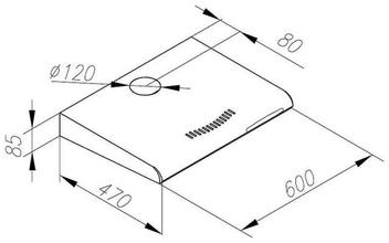 Maattekening M-SYSTEM afzuigkap onderbouw motorloos MOK600WT