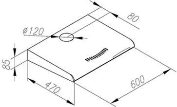 Maattekening M-SYSTEM afzuigkap onderbouw MOK620IX