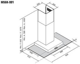 Maattekening M-SYSTEM afzuigkap rvs MSGK991IX