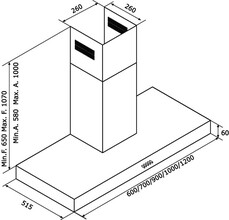 Maattekening M-SYSTEM afzuigkap motorloos MSPK901IX