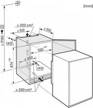 Maattekening MIELE koelkast inbouw K32122I