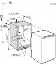 Maattekening MIELE koelkast inbouw K33222I