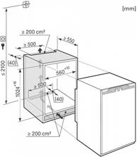 Maattekening MIELE koelkast inbouw K33422I