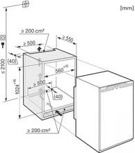 Maattekening MIELE koelkast inbouw K33442iF