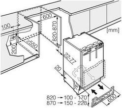 Maattekening MIELE koelkast onderbouw K9123UI