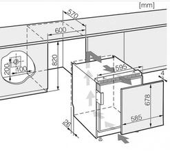 Maattekening MIELE koelkast onderbouw K9124UIF