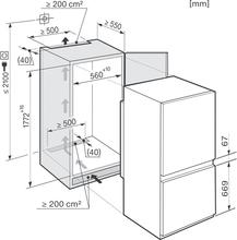 Maattekening MIELE koelkast inbouw KDN37132ID
