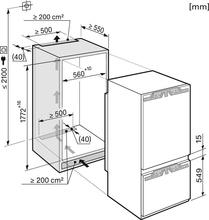 Maattekening MIELE koelkast inbouw KF37673ID