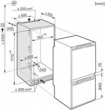 Maattekening MIELE koelkast inbouw KFN37282ID
