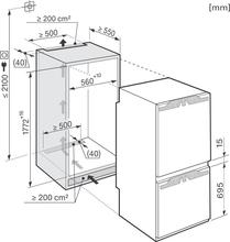 Maattekening MIELE koelkast inbouw KFN37452IDE