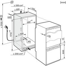 Maattekening MIELE koelkast inbouw KFN37692IDE