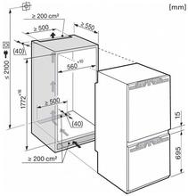Maattekening MIELE koelkast inbouw KFNS37432ID