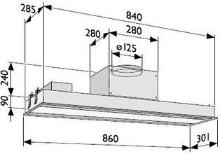 Maattekening NOVY afzuigkap inbouw 898