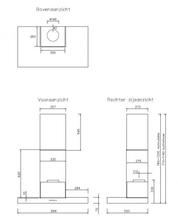 Maattekening NOVY afzuigkap rvs EB1030