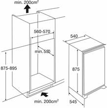 Maattekening PELGRIM koelkast inbouw KK2170A