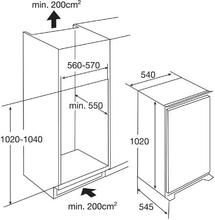 Maattekening PELGRIM koelkast inbouw KK2200A