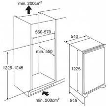 Maattekening PELGRIM koelkast inbouw KK2220A