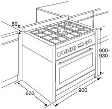 Maattekening PELGRIM fornuis antraciet NF980ANTA