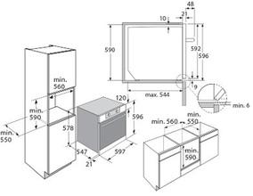 Maattekening PELGRIM oven inbouw OVM516RVS