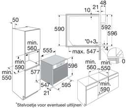 Maattekening PELGRIM oven inbouw antraciet OVM836ANT