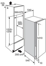 Maattekening PELGRIM koelkast inbouw PKD5122V