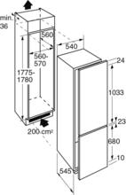 Maattekening PELGRIM koelkast inbouw PKD5178F