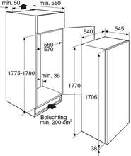 Maattekening PELGRIM koelkast inbouw PKS4178K
