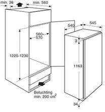 Maattekening PELGRIM koelkast inbouw PKS5122K