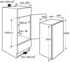 Maattekening PELGRIM vrieskast inbouw PVS3102N
