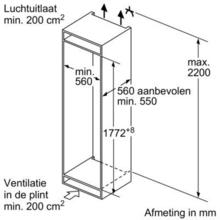 Afmetingen SIEMENS koelkast inbouw KI82LAD30
