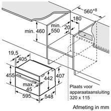 Maattekening SIEMENS oven inbouw CB675GBS1