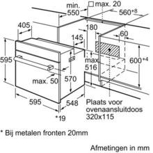 Maattekening SIEMENS combinatie oven inbouw rvs HE33GB550