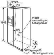 Maattekening SIEMENS koelkast rvs KA58NP95