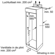 Maattekening SIEMENS koelkast inbouw KI38VA50