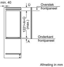 Maattekening SIEMENS koelkast inbouw KI42LED30